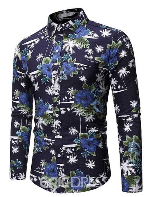Ericdress Lapel Button Floral Slim Men's Single-Breasted Shirt