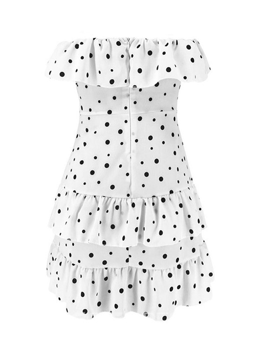 Ericdress Polka Dots Strapless Pleated Above Knee Sleeveless Dress