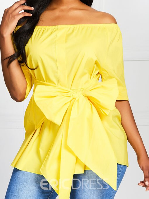 Ericdress Off Shoulder Lace-Up Bowknot Short Sleeve Slim Blouse