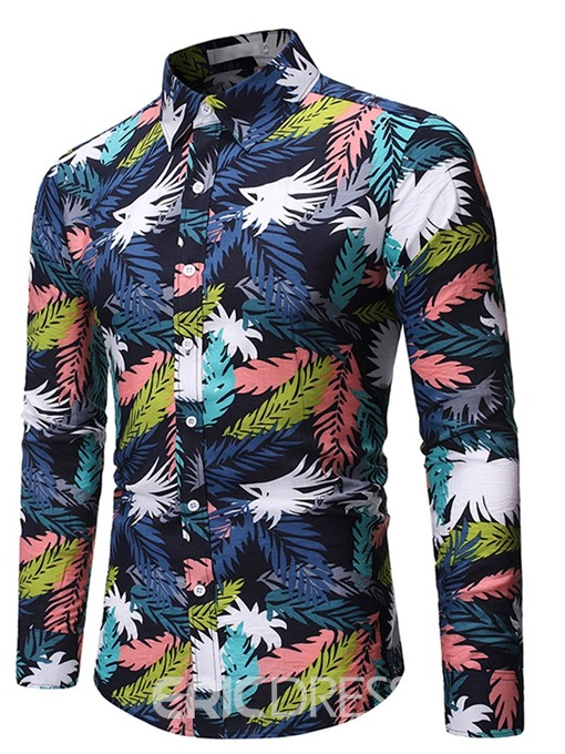 Ericdress Print Casual Color Block Men's Single-Breasted Shirt