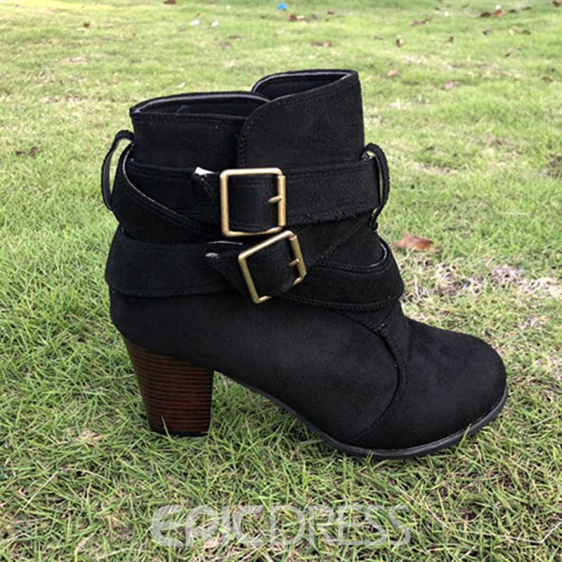 Ericdress PU Round Toe Chunky Heel Women's Ankle Boots