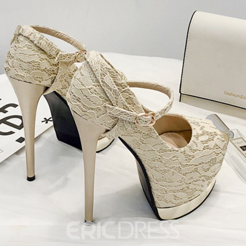 Ericdress Platform Stiletto Heel Peep Toe Buckle Women's Prom Shoes
