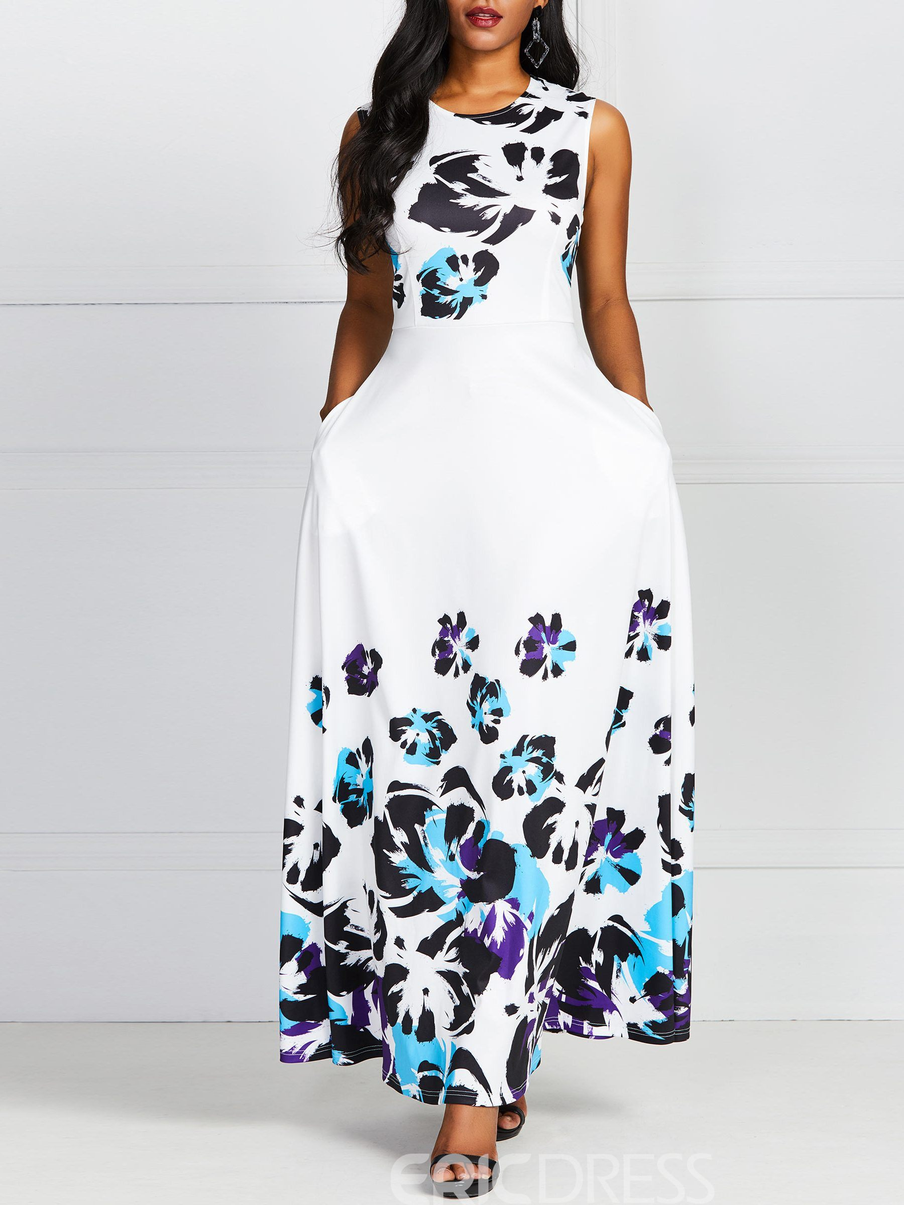Ericdress Pocket Print Round Neck Ankle-Length Sweet Expansion Dress