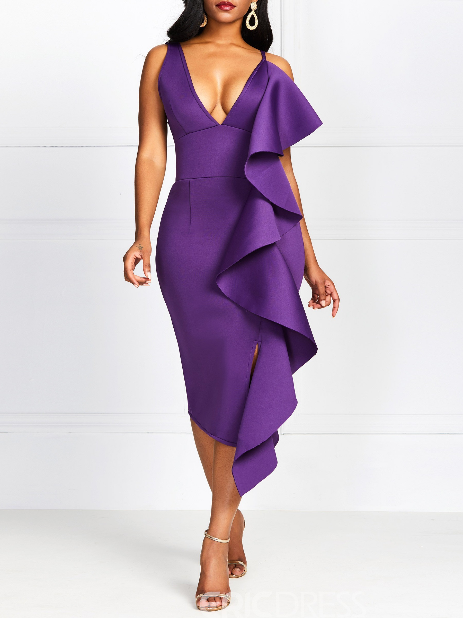 Ericdress Sexy Asymmetric Sleeveless Ruffles V-Neck Plain Bodycon Purple Dress