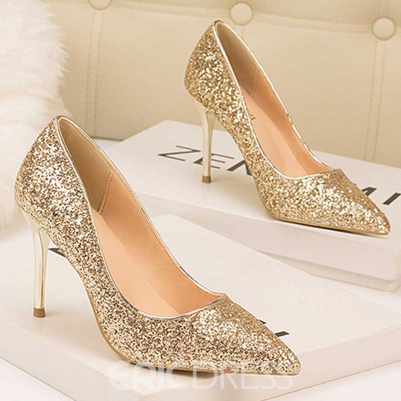 Ericdress Sequin Slip-On Pointed Toe Stiletto Heel Women's Pumps