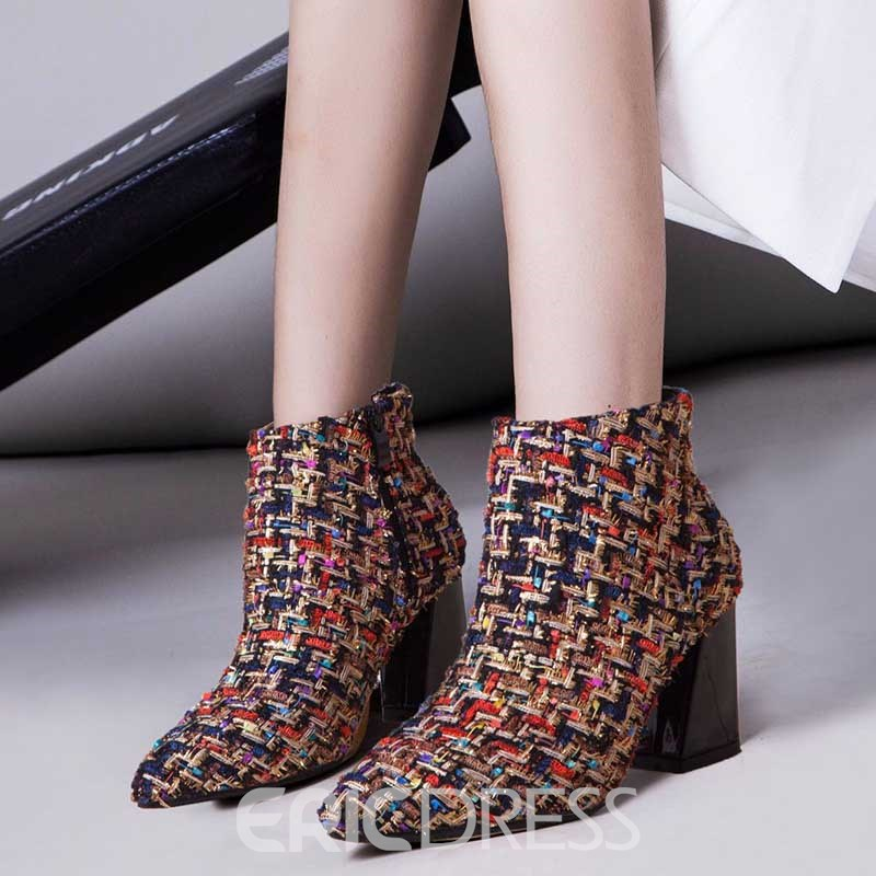 Ericdress Chunky Heel Side Zipper Pointed Toe Women's Ankle Boots