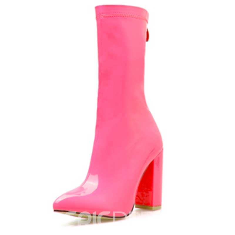 Ericdress Plain Chunky Heel Zipper Pointed Toe Women's Ankle Boots