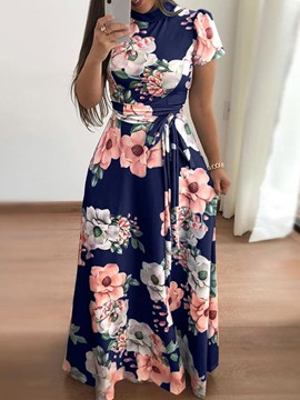Ericdress Print Floor-Length Short Sleeve Mid Waist Pullover Dress