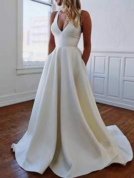 Ericdress V-Neck Sleeveless Bowknot Beach Wedding Dress 2019