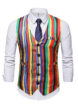 Ericdress Print Stripe V-Neck Single-Breasted Men's Fashion Waistcoat