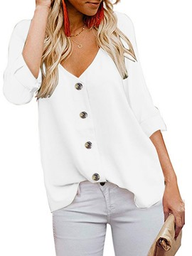 Ericdress Plain V-Neck Button Three-Quarter Sleeve Standard Women's Blouse