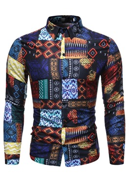 Ericdress Lapel Geometric Print Slim Men's Single-Breasted Shirt