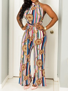 Ericdress Sexy Print Geometric Backless Straight Slim Jumpsuit