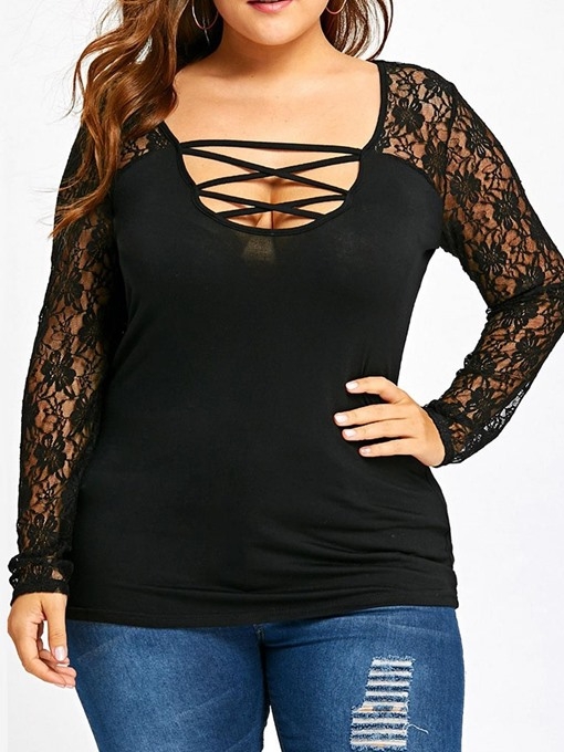Ericdress Plus Size Mid-Length Long Sleeve Plain Slim Sexy T-Shirt