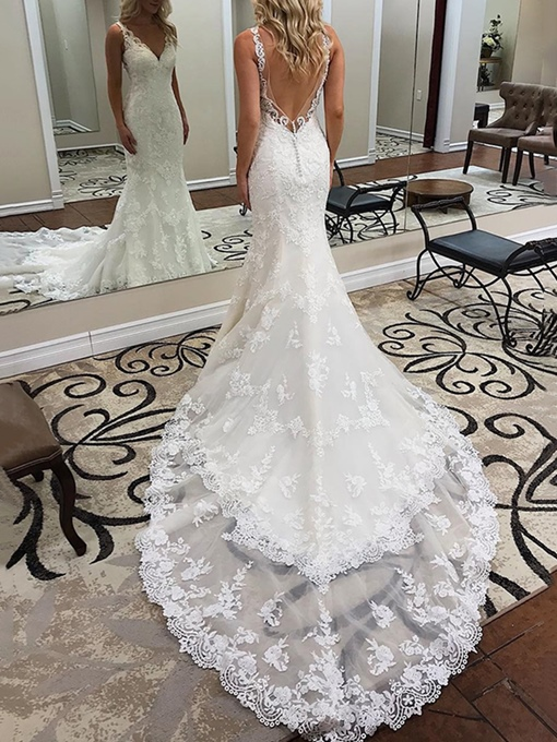 Ericdress Mermaid Button Backless Lace Wedding Dress 2019