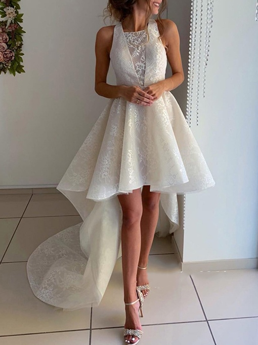 Ericdress High Low Lace Beach Wedding Dress 2019