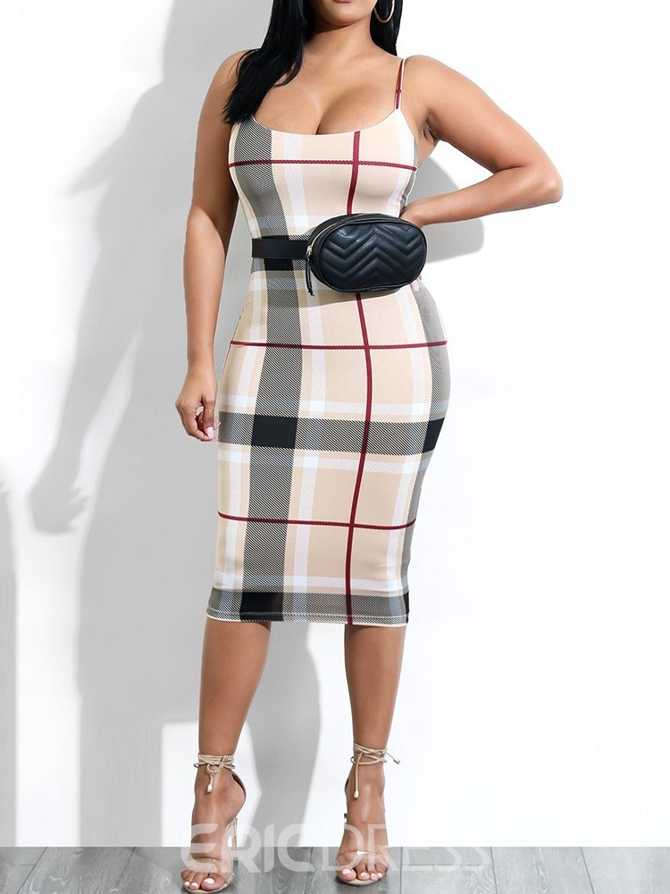 Ericdress Plaid Mid-Calf Sleeveless Sexy Mid Waist Pencil Dress