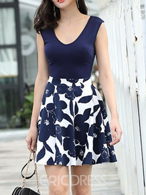 Ericdress A-Line Print Sleeveless V-Neck Patchwork Floral Dress