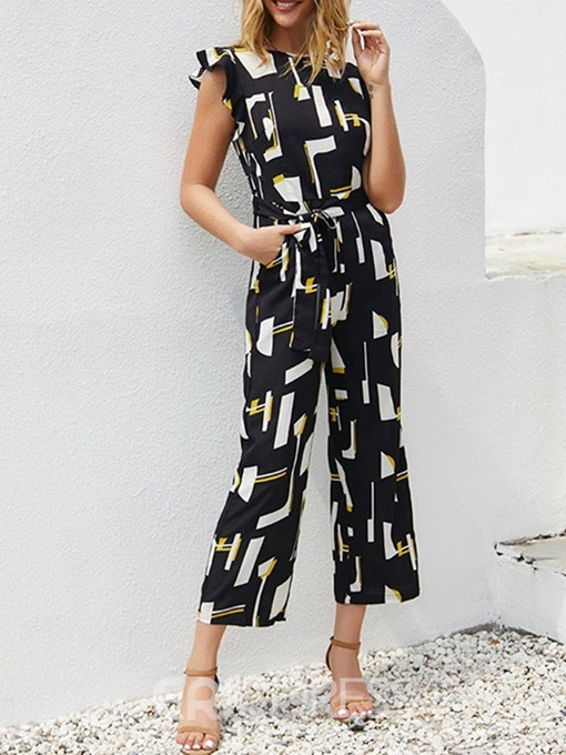 Ericdress Fashion Print Mid-Calf High Waist Loose Jumpsuit