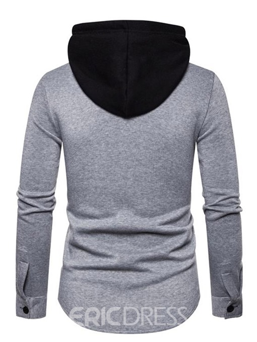 Ericdress Cardigan Button Color Block Loose Men's Single-Breasted Hoodies