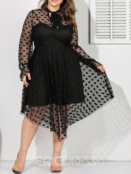 Ericdress Plus Size See-Through Asymmetrical Bow Collar Polka Dots Dress