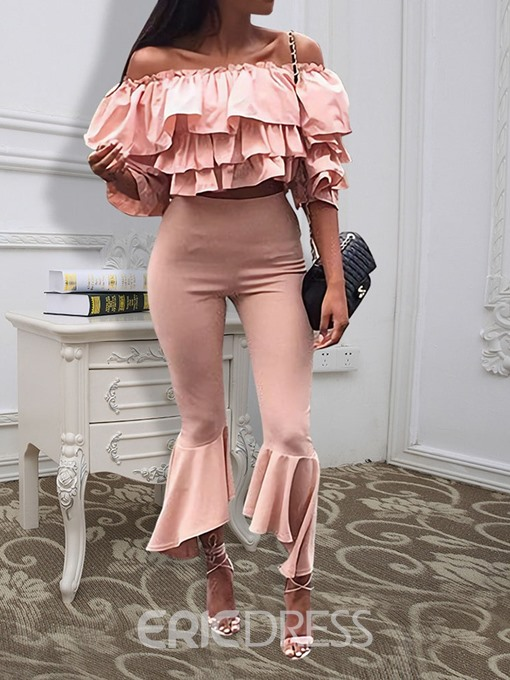 Ericdress Falbala Bellbottoms Off Shoulder Two Piece Sets