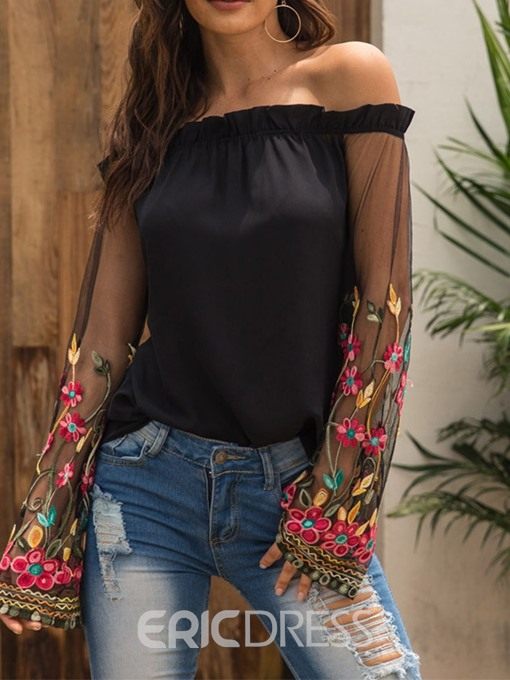 Ericdress Off Shoulder Embroidery Patchwork Flare Sleeve Long Sleeve Blouse