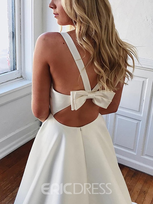 Ericdress V-Neck Sleeveless Bowknot Beach Wedding Dress
