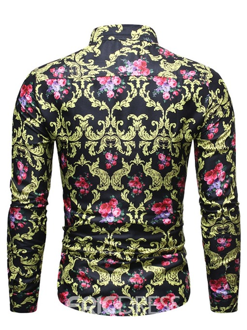 Ericdress Lapel Button Floral Men's Single-Breasted Shirt
