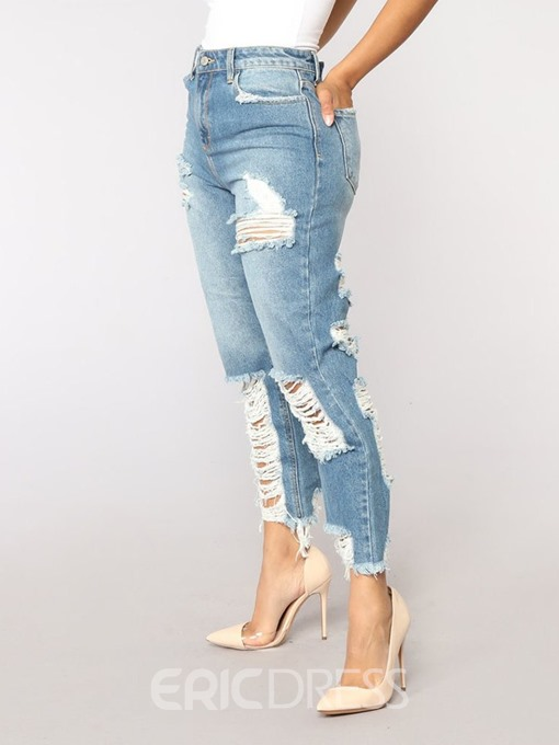 Ericdress Plain Hole Straight High Waist Ankle Length Loose Jeans