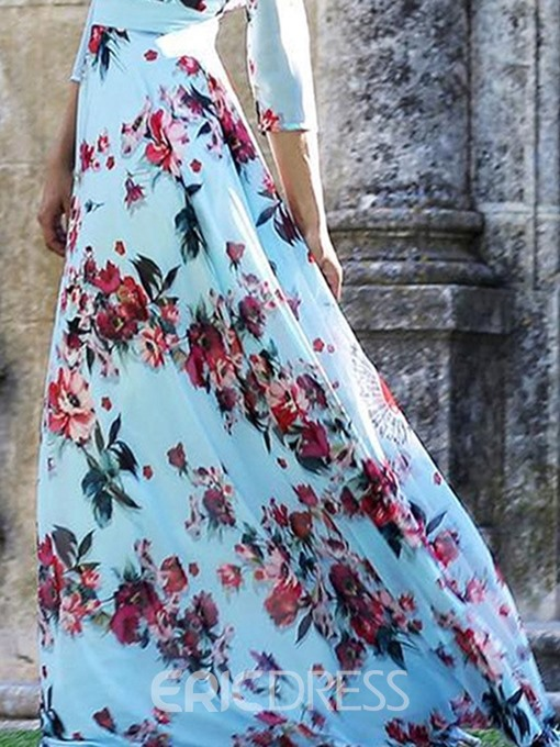 Ericdress Floor-Length Print Round Neck Expansion Floral Dress