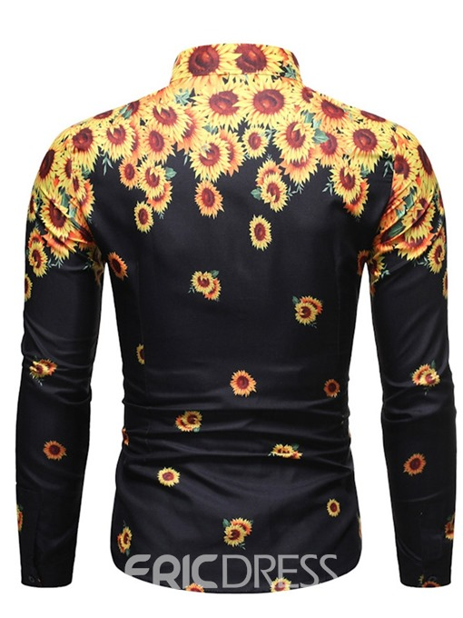 Ericdress Lapel Floral Fashion Men's Slim Shirt