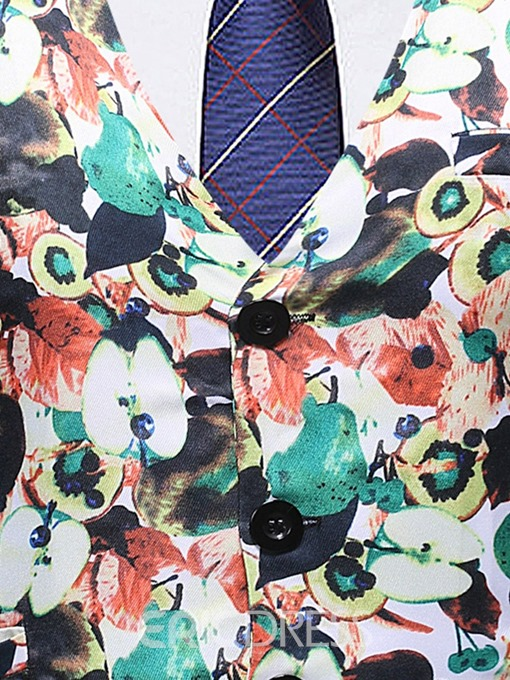 Ericdress Print Color Block Thin Single-Breasted Men's Waistcoat