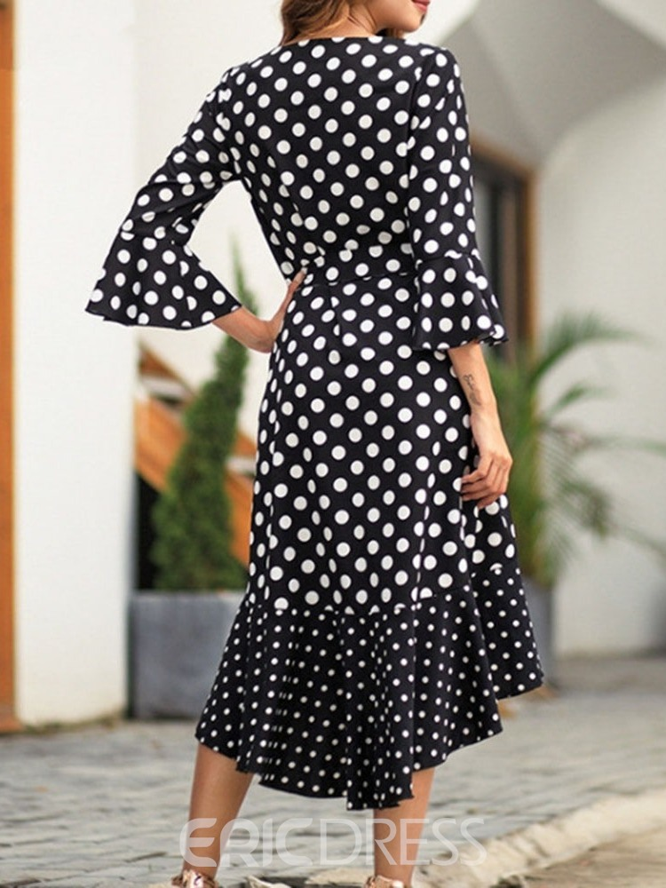 Ericdress Polka Dots Flare Sleeve V-Neck Swallowtail Casual Dress