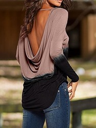 Ericdress Asymmetric Color Block Round Neck Backless Loose T-Shirt