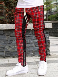 Купить со скидкой Ericdress Plaid Zipper Hip Hop Lace-Up Mens Casual Pants