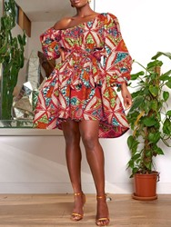 Ericdress African Fashion Oblique Collar Lantern Sleeve Above Knee Floral Dress фото