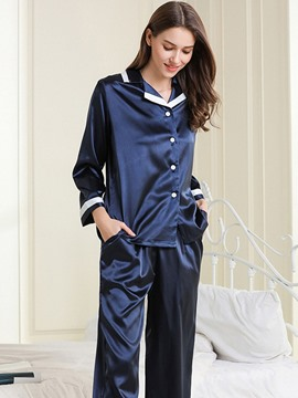 Ericdress Button Color Block Fashion Women's Sleepwear 2 Pieces