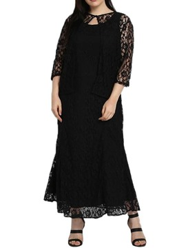 Ericdress Plus Size Lace Sleeveless Round Neck Ankle-Length Elegant Little Black Dress