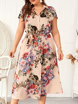 Ericdress Plus Size Print A-Line Mid-Calf Short Sleeve Floral Lace-Up Dress