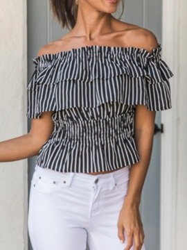 Ericdress Plus Size Off Shoulder Ruffled Striped Short Sleeve Standard Blouse