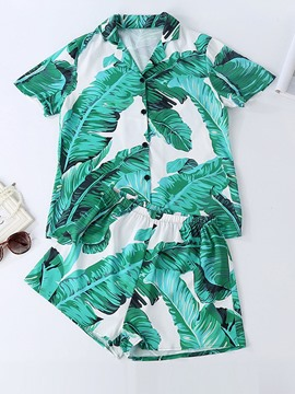 Ericdress Color Block Print Short Sleeve Pajama Suit