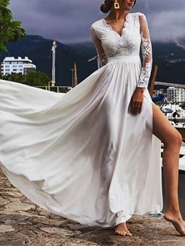 Ericdress Split-Front Long Sleeves V-Neck Wedding Dress 2020