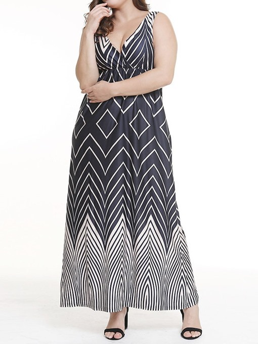 Ericdress Plus Size Print Ankle-Length Sleeveless V-Neck Geometric Dress