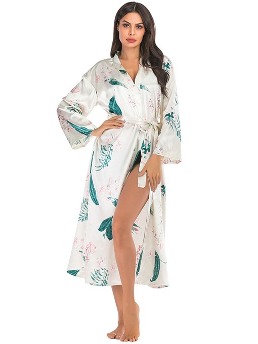Ericdress Floral Belt Single Polyester Long Sleeve Night-Robes