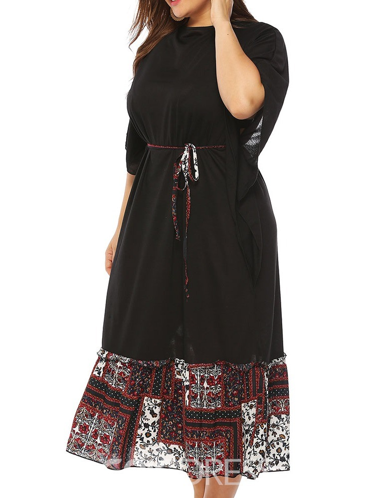Ericdress Plus Size Casual Batwing Sleeve Print Patchwork Dress