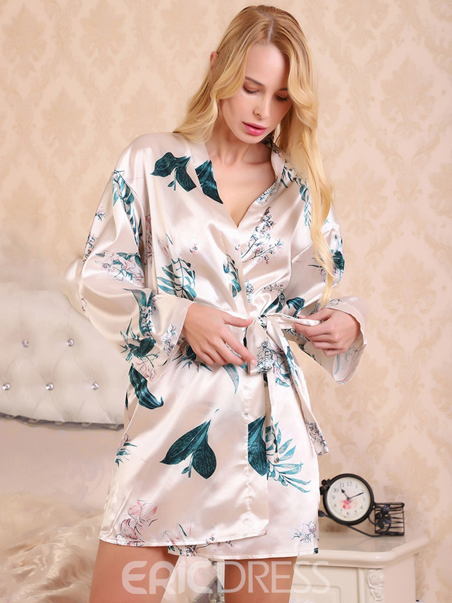 Ericdress Single Floral Belt Loose Long Sleeve Night-Robes
