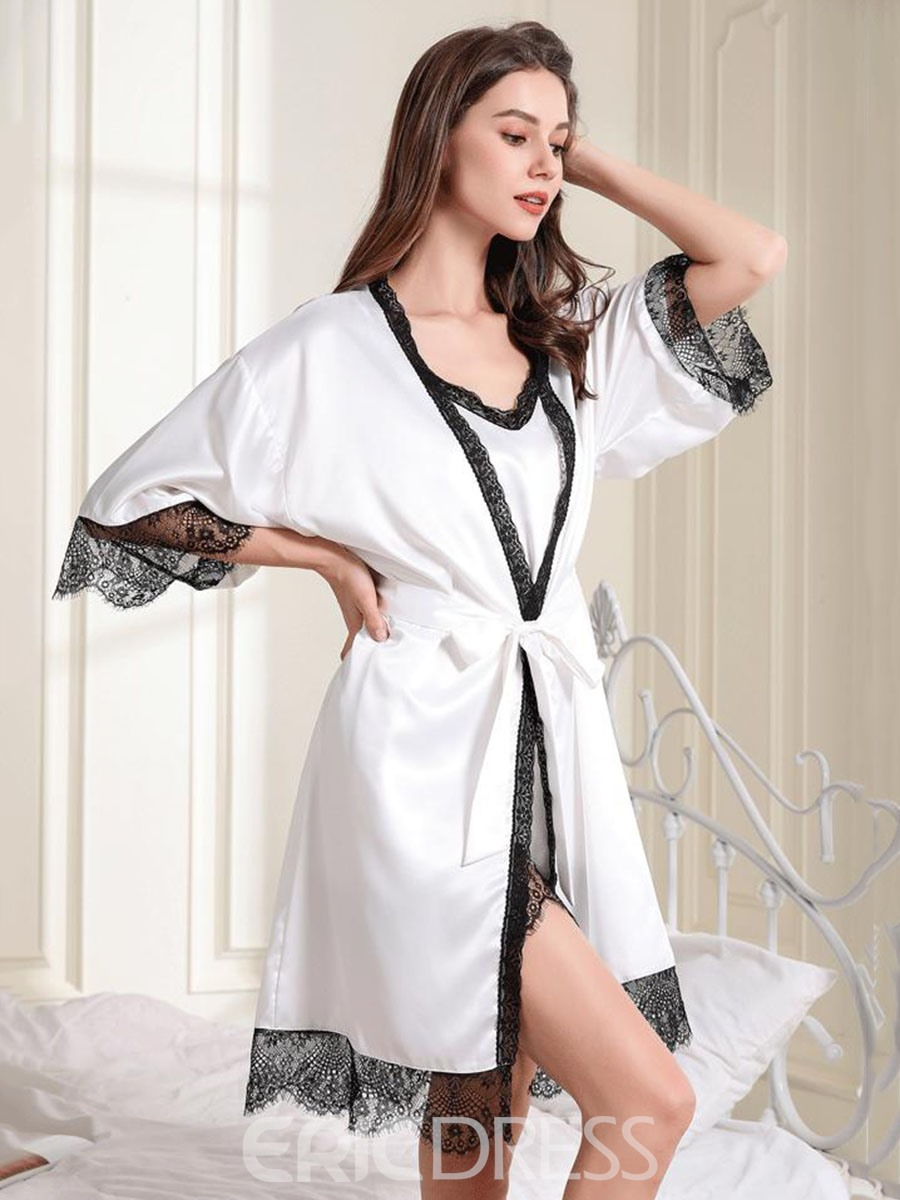 Ericdress Bowknot Color Block Sexy Pajama Suit