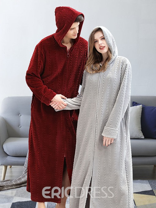 Ericdress Plain Hooded Long Sleeve Long Zipper Night-Robes