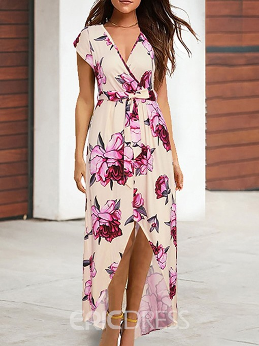 Ericdress Print V-Neck Floor-Length Asymmetrical Elegant Dress
